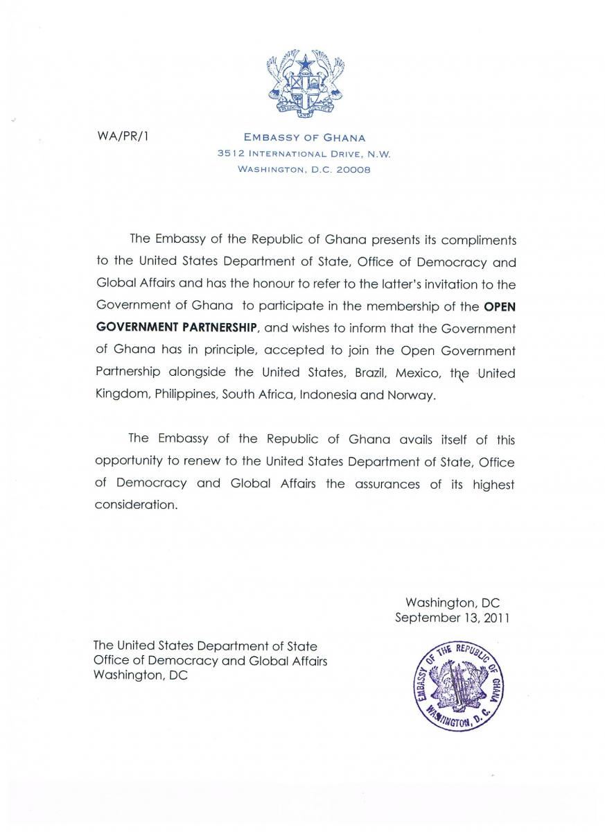 Ghana Letter Of Intent To Join Ogp Open Government Partnership