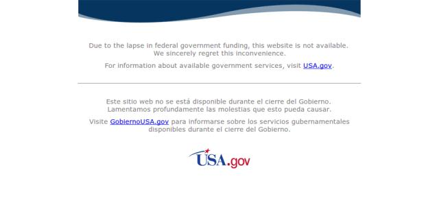 Due to the lapse in Federal Government funding ...