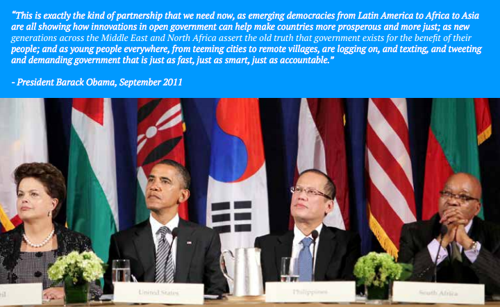 President Obama spoke at the launch of the Open Government Partnership in 2011