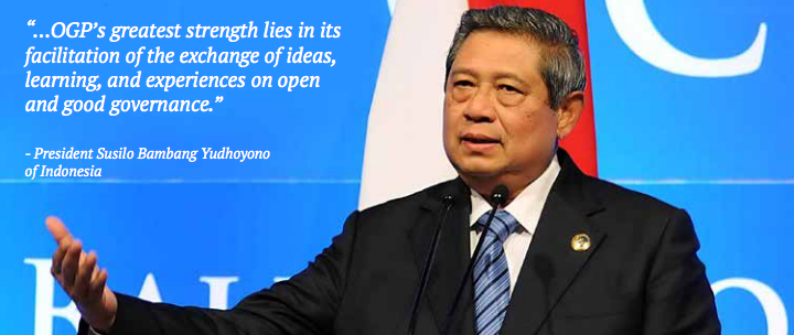 President Susilo Bambang Yudhoyono of Indonesia is a co-chair of OGP