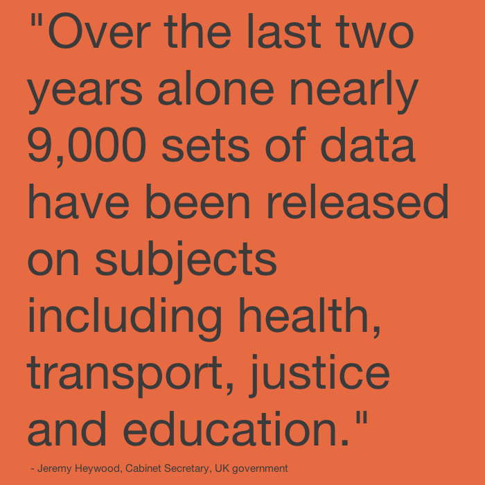 Over the last two years alone nearly 9,000 sets of data have been released on subjects including health, transport, justice and education.