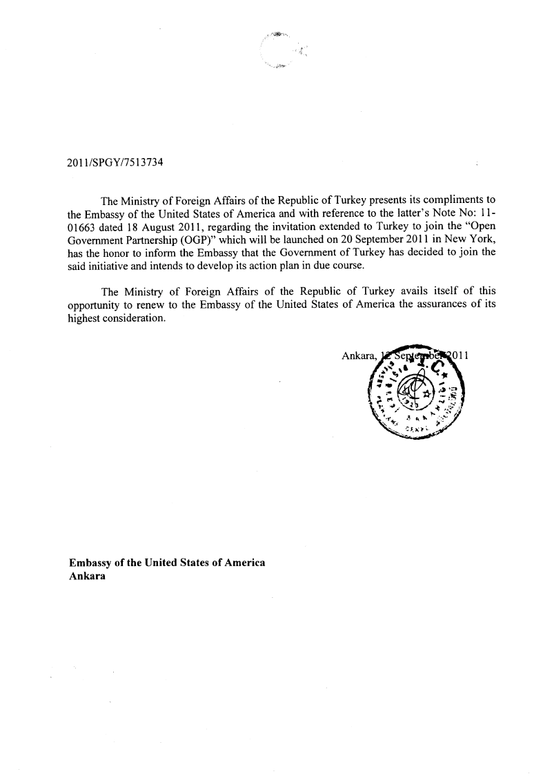 Image of Turkey's letter of intent to OGP. Page 1 of 1.