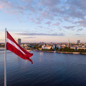 sunset view over AB dam in Riga