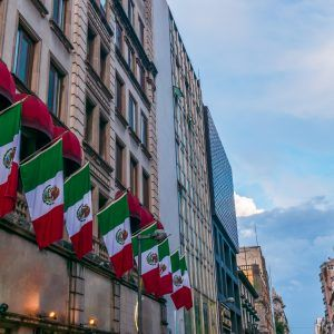 Mexican flags in the street