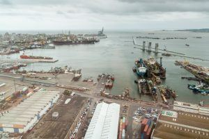 Aerial view of a port in Montevideo, Uruguay