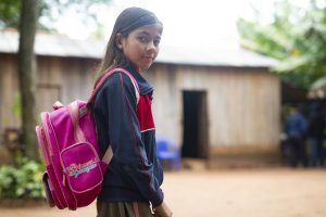 Girl Going to School in Paraguay