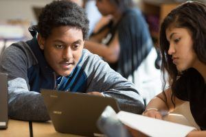 high school boy and girl at computer