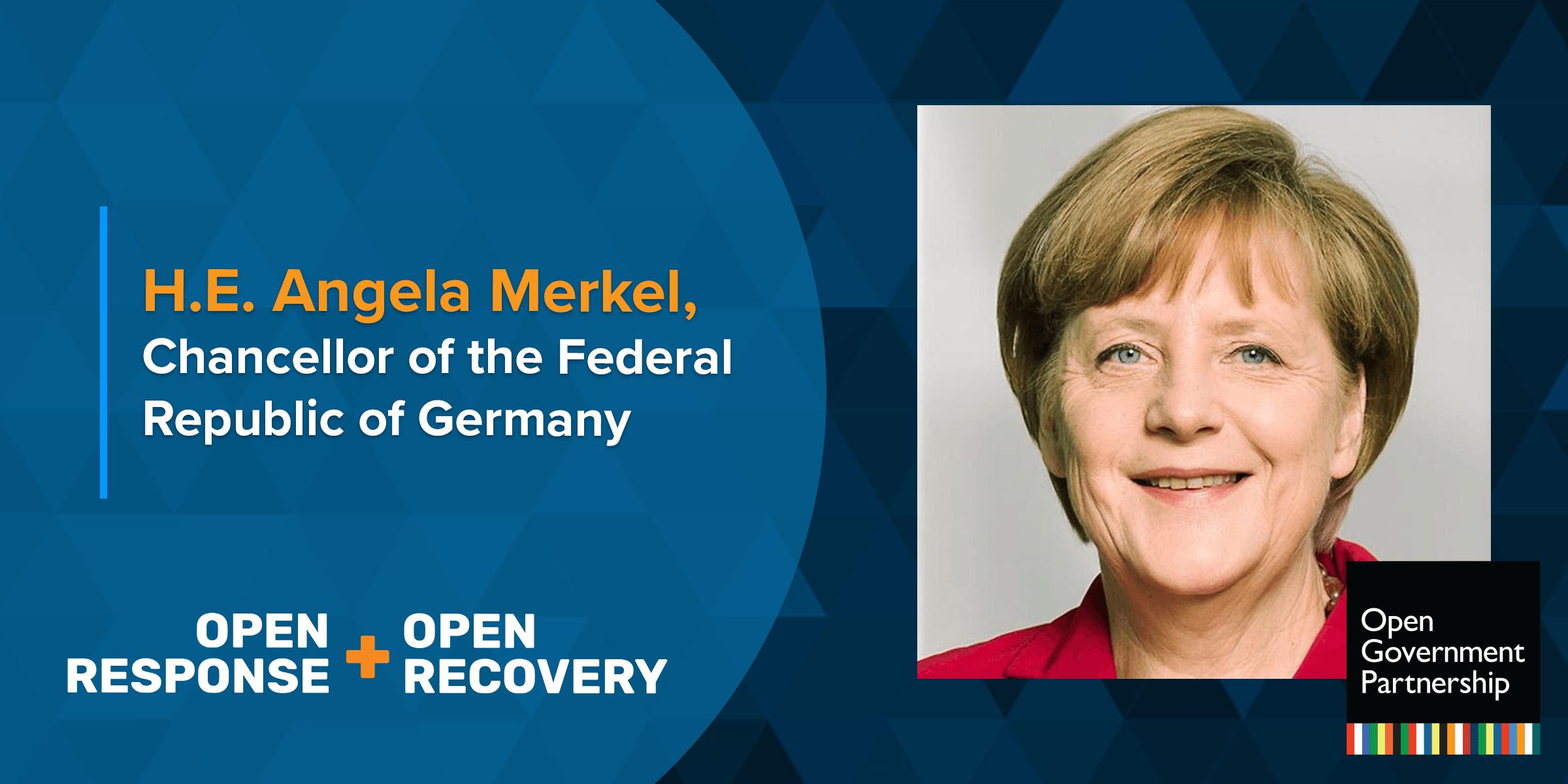 German Chancellor Angela Merkel Addresses The Ogp Virtual Leaders Summit