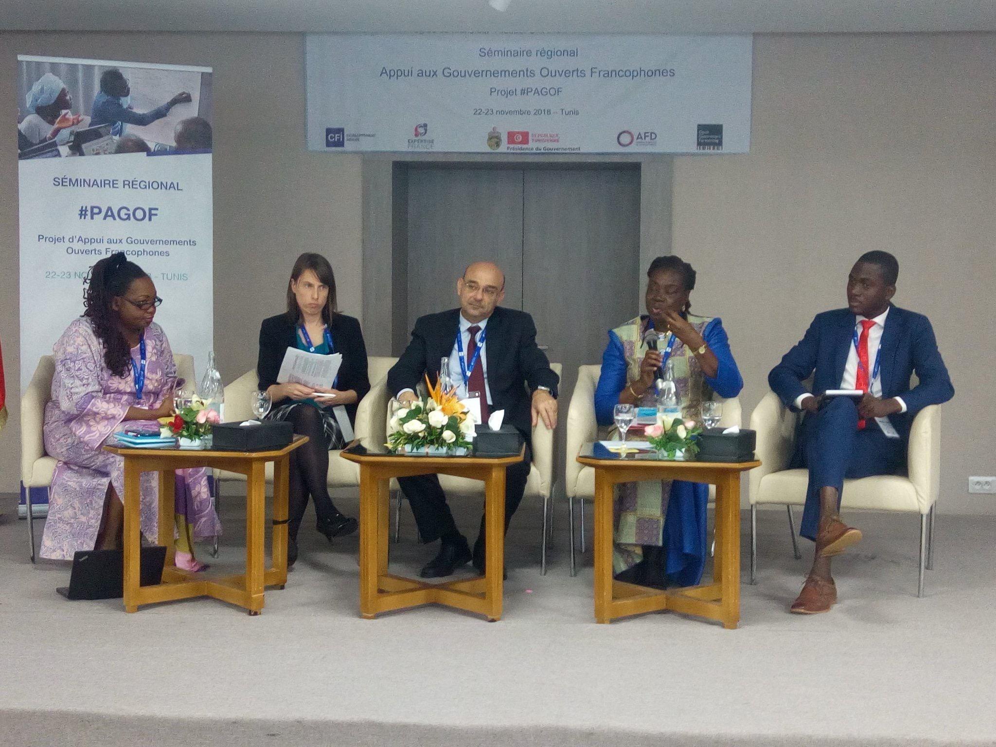 Líderes regionales de OGP compartiendo la experiencia de su país en Seminaire-PAGOF, Túnez, noviembre de 2018